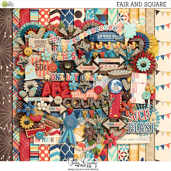 You can find the digital scrapbook kit Fair And Square by Bella Gypsy Designs at the-lilypad.com.